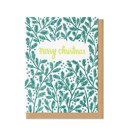 Merry Christmas Pine Boughs Card Box Set of 6