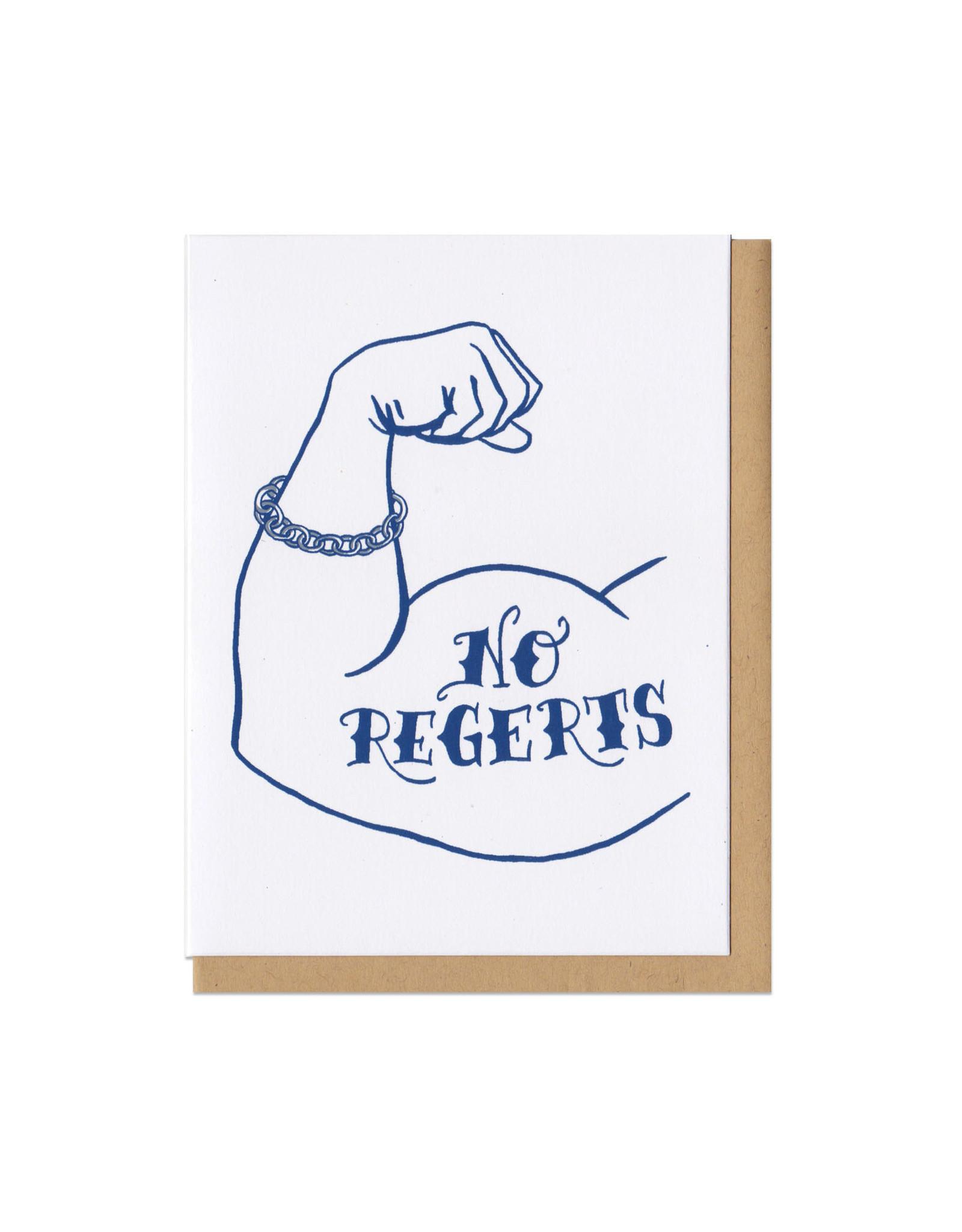 No Regerts Arm Tattoo Greeting Card
