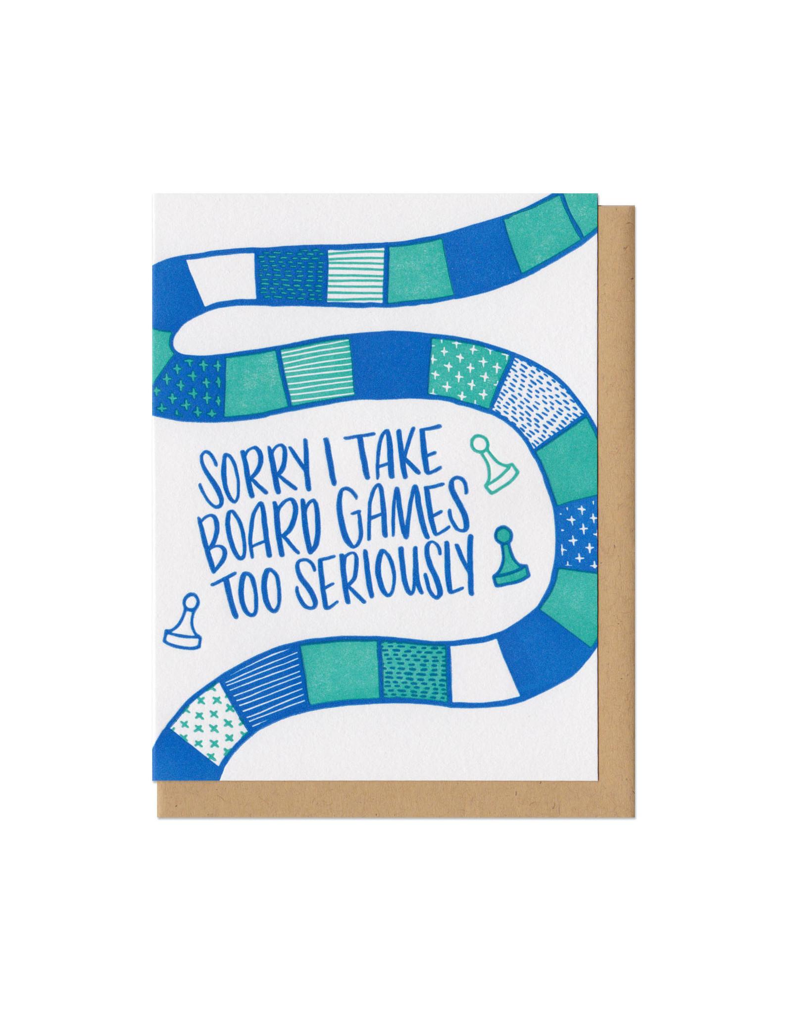 Sorry I Take Board Games Too Seriously (teal) Greeting Card