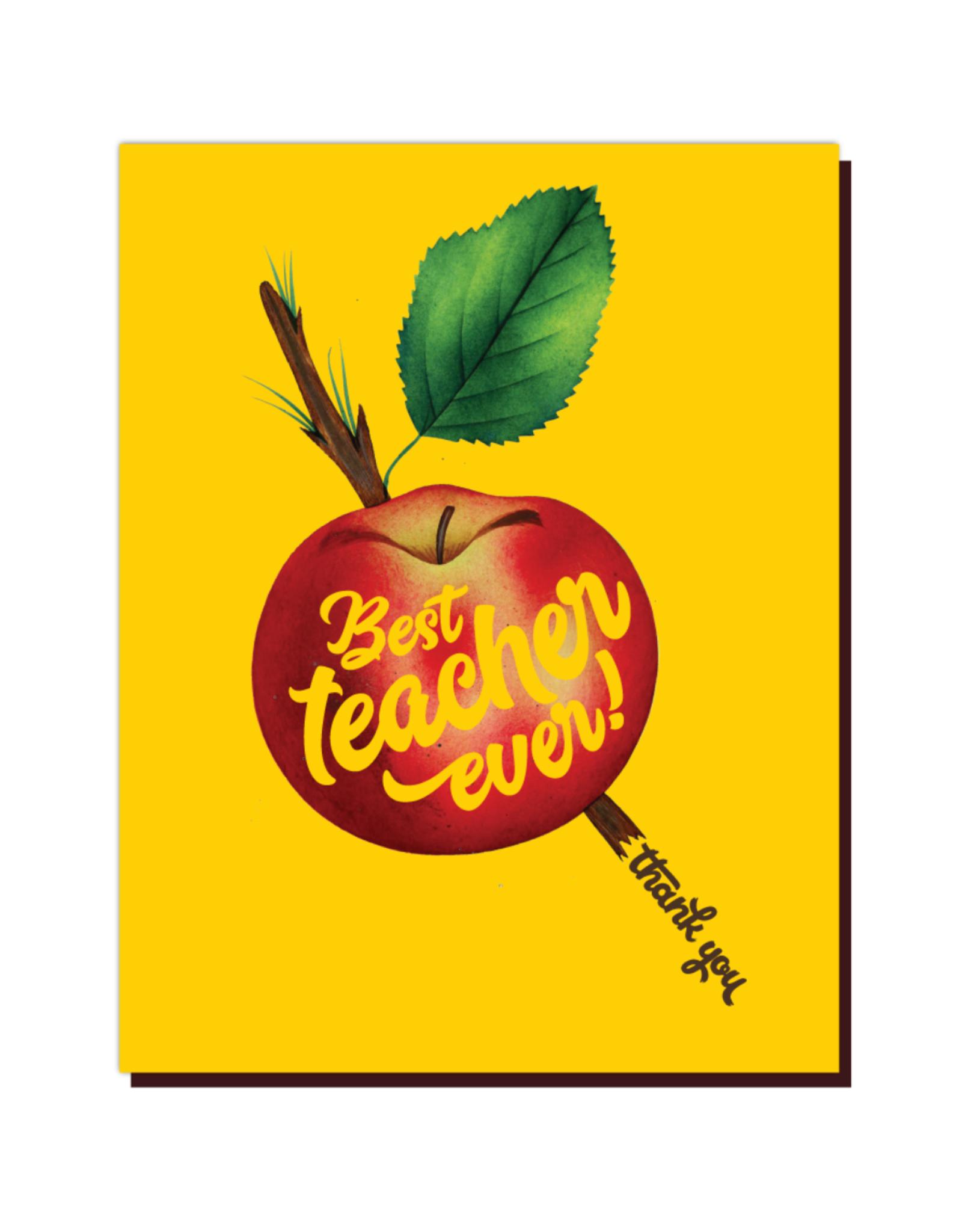 Best Teacher Ever Apple Greeting Card
