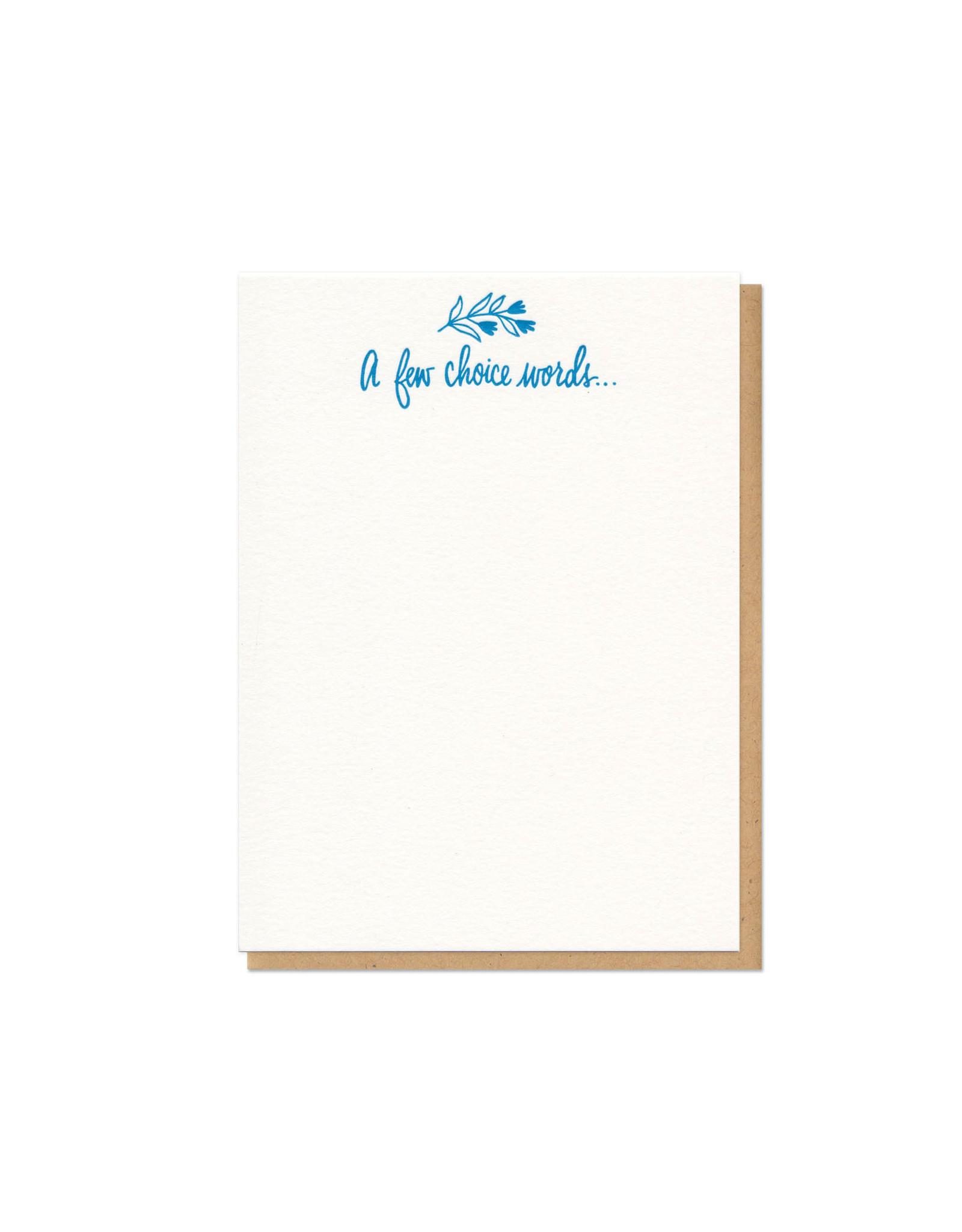 A Few Choice Words Single Flat Card