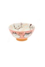 Pink & Orange Wonderful Cat Rice Bowl