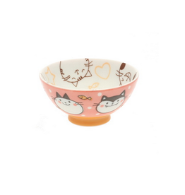 Pink & Orange Wonderful Cat Rice Bowl