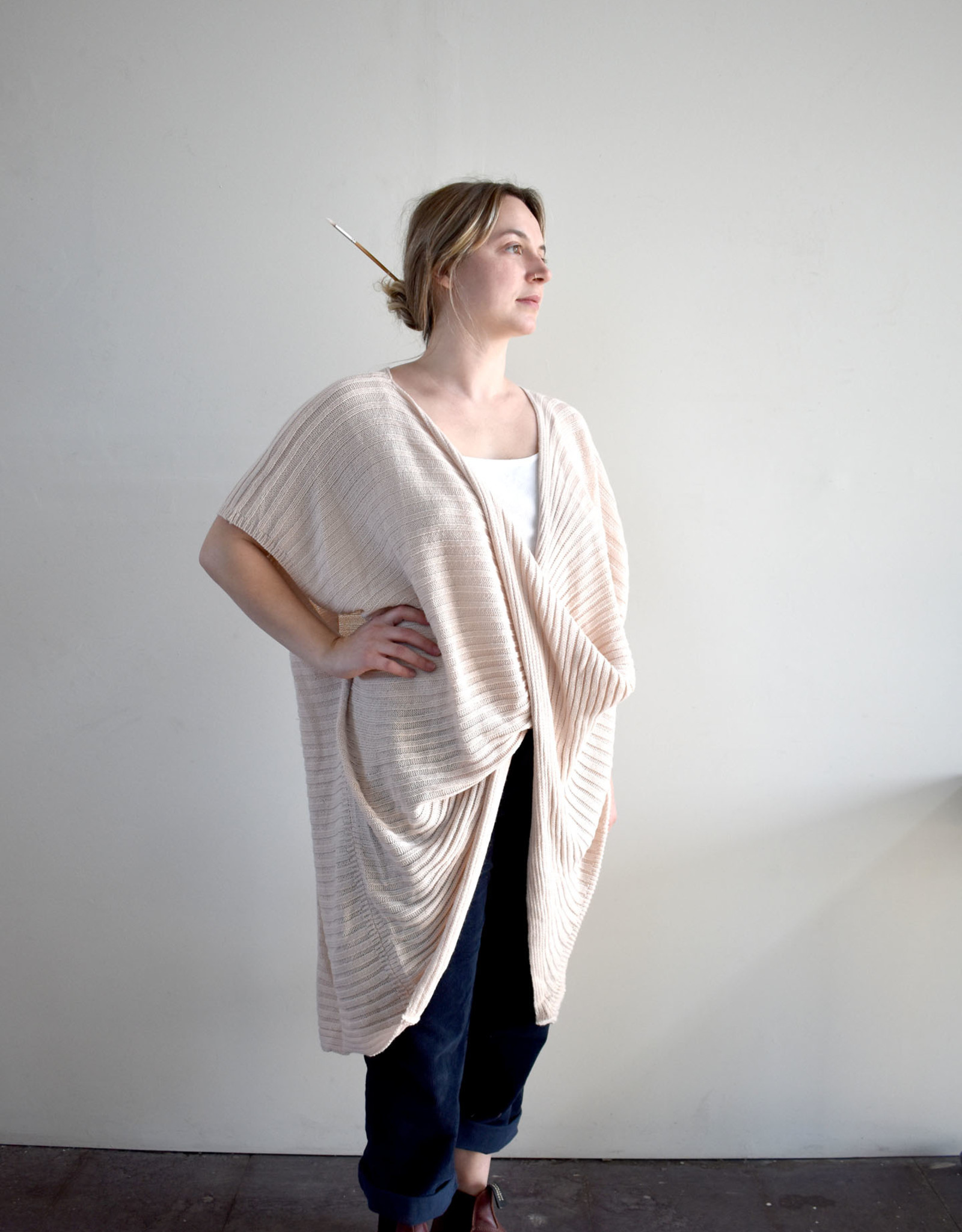 Ribbed Twist Front Poncho