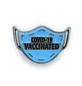 COVID-19 Vaccinated Mask Pin - Blue
