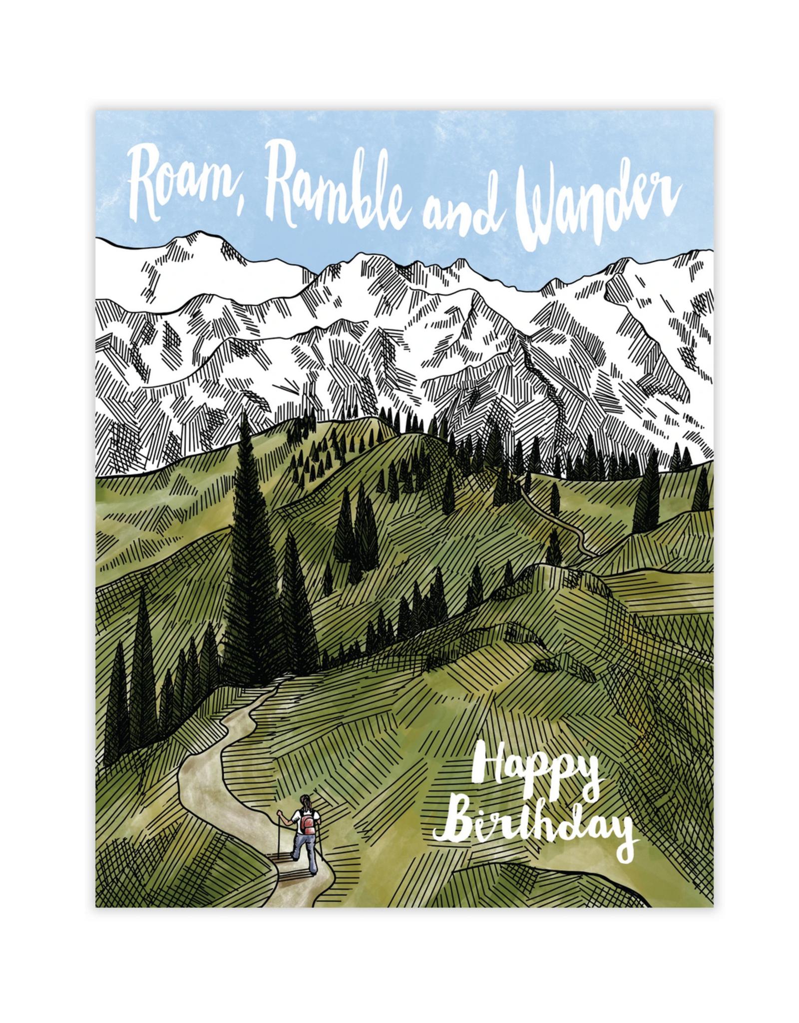 Waterknot Roam, Ramble, Wander. Happy Birthday Greeting Card