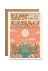 Cai & Jo Happy Birthday Mountain Sunset Greeting Card