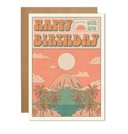 Happy Birthday Mountain Sunset Greeting Card