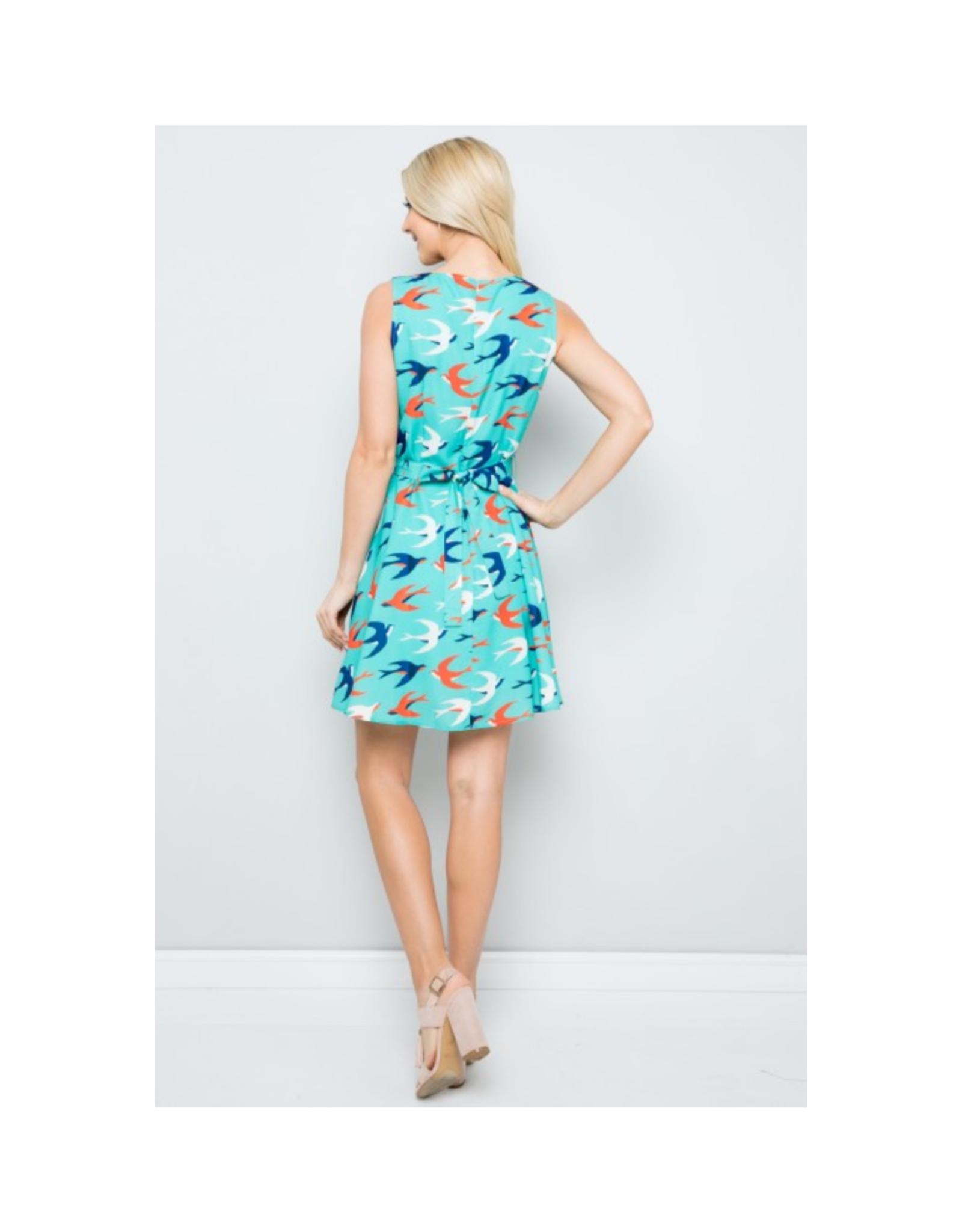 Sparrow Print Skater Dress
