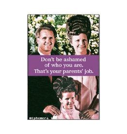 Don't Be Ashamed...That's Your Parents' Job Magnet