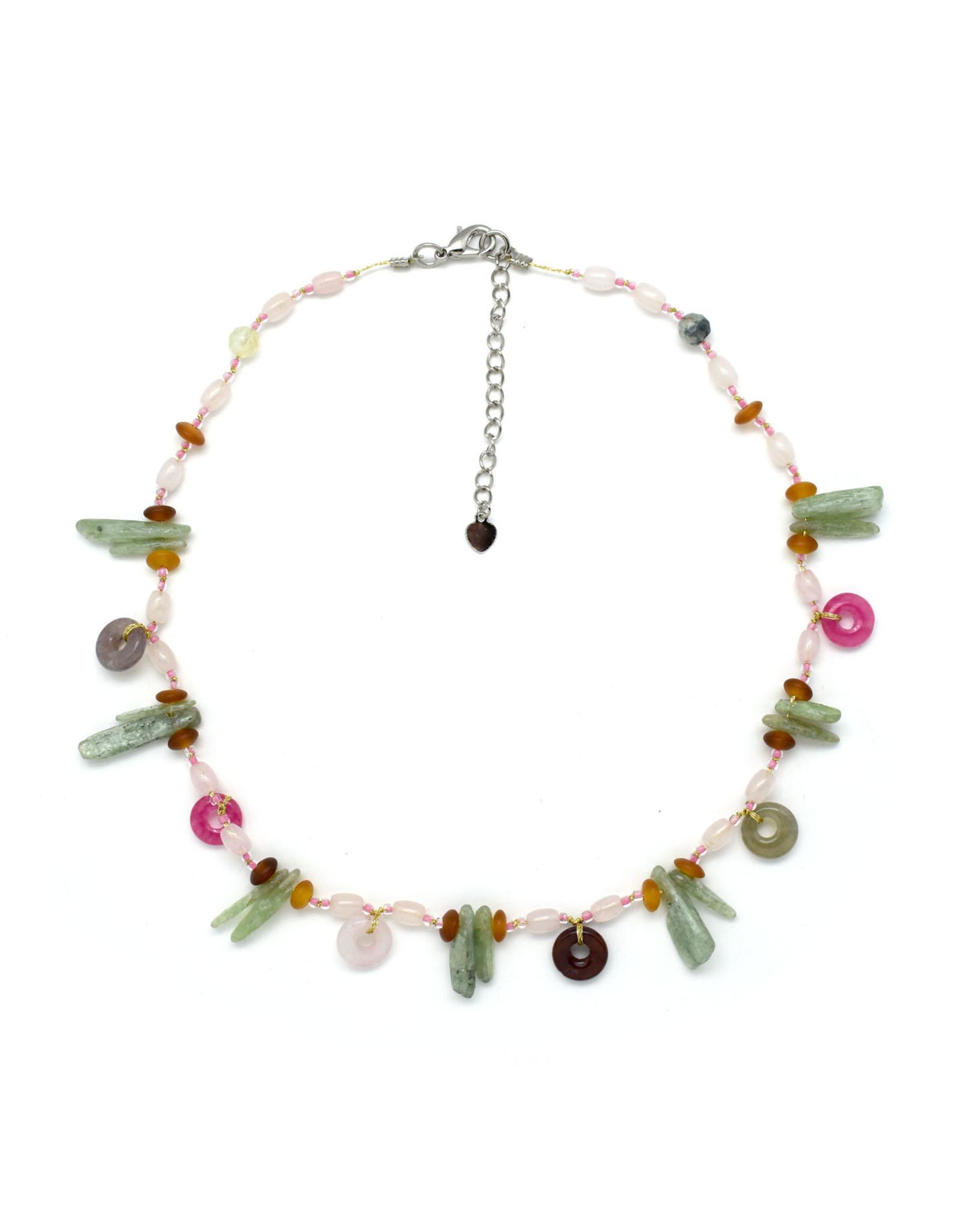 Silk Strand Multi-Stone Pink & Green Necklace