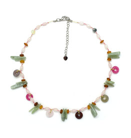 Silk Strand Multi-Stone Pink & Green Necklace