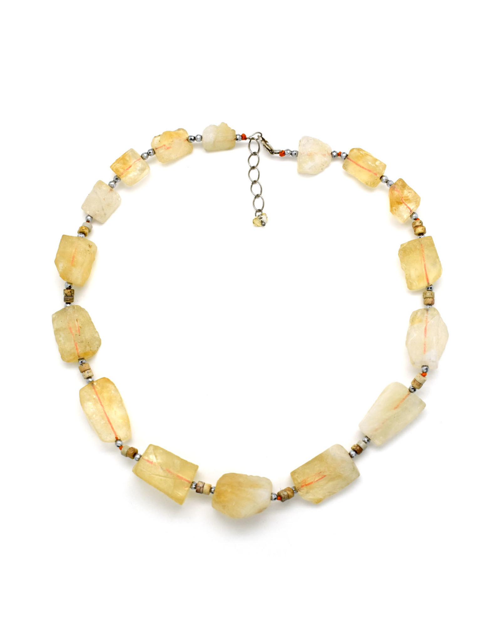 Citrine Chunk with Pale Pink Stones Necklace