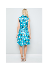 Blue Cat Print Dress with Pockets