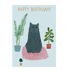 Roger La Borde Cat Bed Happy Birthday Greeting Card