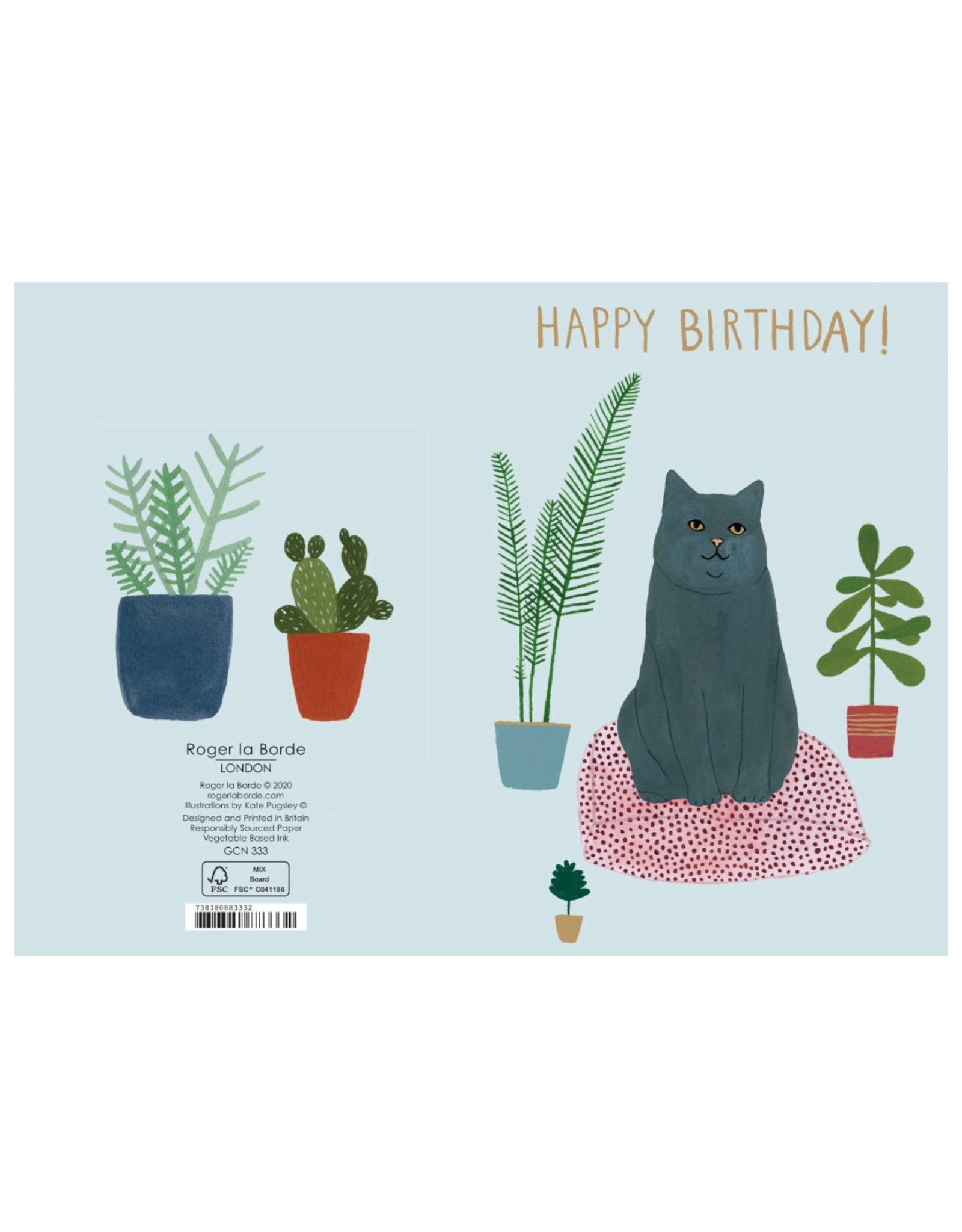 Roger La Borde Cat Bed Happy Birthday Greeting Card