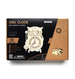Hands Craft Owl Clock Mechanical Wooden Puzzle