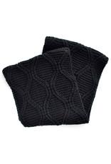 Simplistic Jane Weave Knit Inifinity Scarf - Black