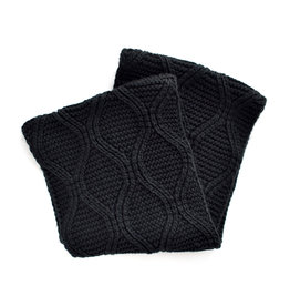 Simplistic Jane Weave Knit Inifinity Scarf - Black