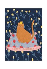 Roger La Borde Cat Crown Happy Birthday Greeting Card