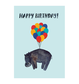 Hippo and Balloons Happy Birthday Greeting Card