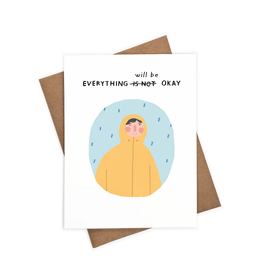 Iejvxr Everything Will Be Okay Rosy Raincoat Greeting Card