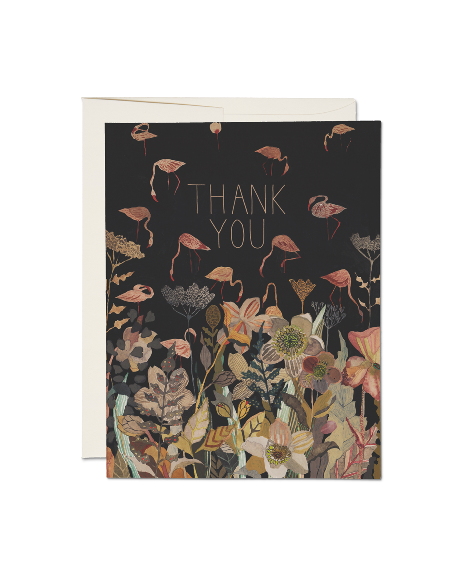 Thank You Floral Flamingo Greeting Card