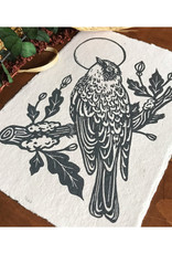 Yellow Rumped Warbler Linocut Print