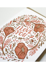 I Love You (Poppies & Mushrooms) Greeting Card