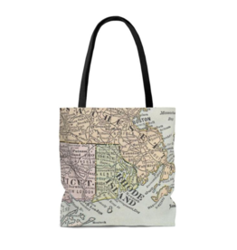 Rhode Island Map Tote Bag