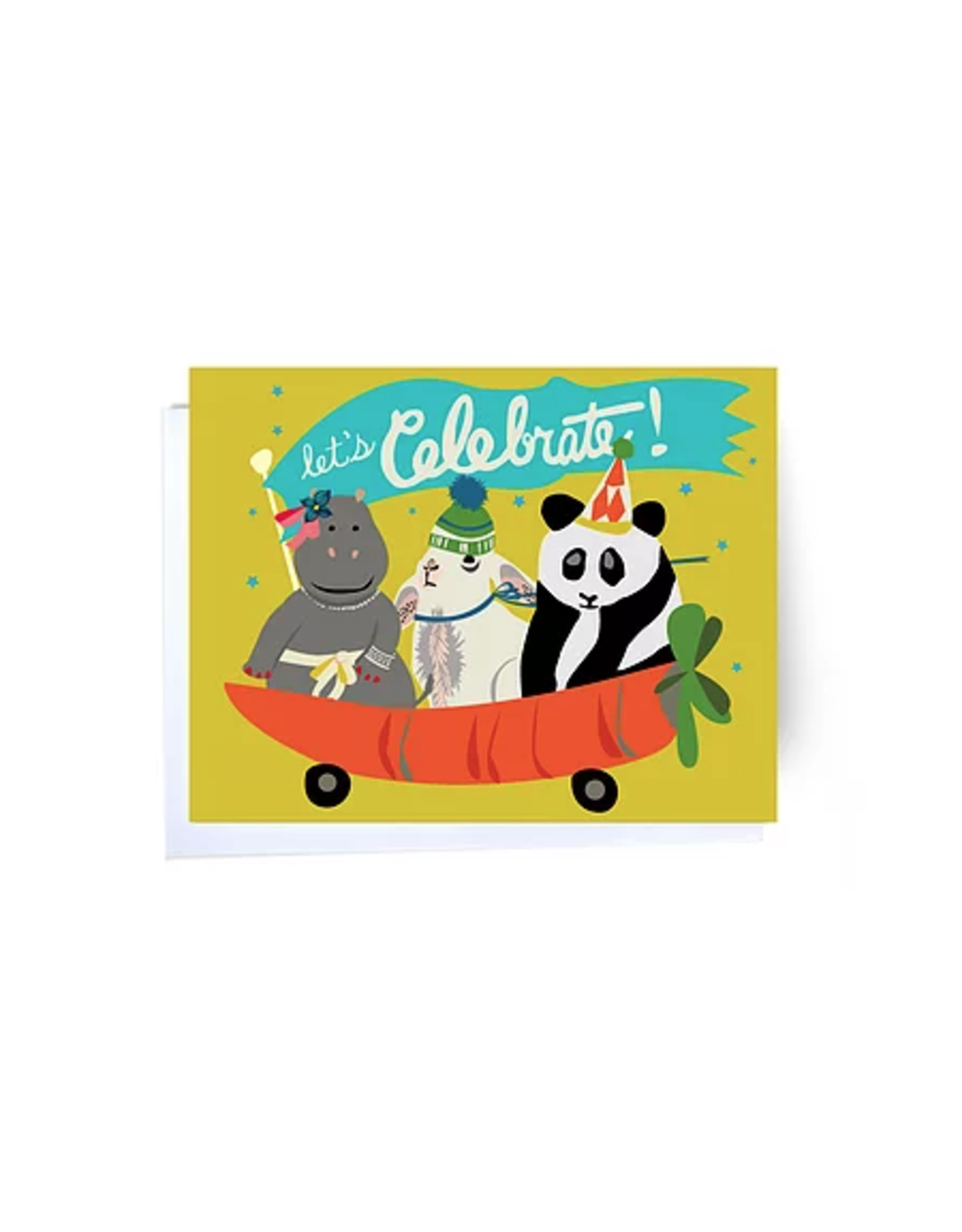 Let's Celebrate Carrot Wagon Greeting Card