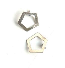 Silver Pentagon Studs Earrings