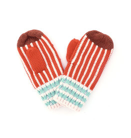 Ribbed Stripe Mitten Orange