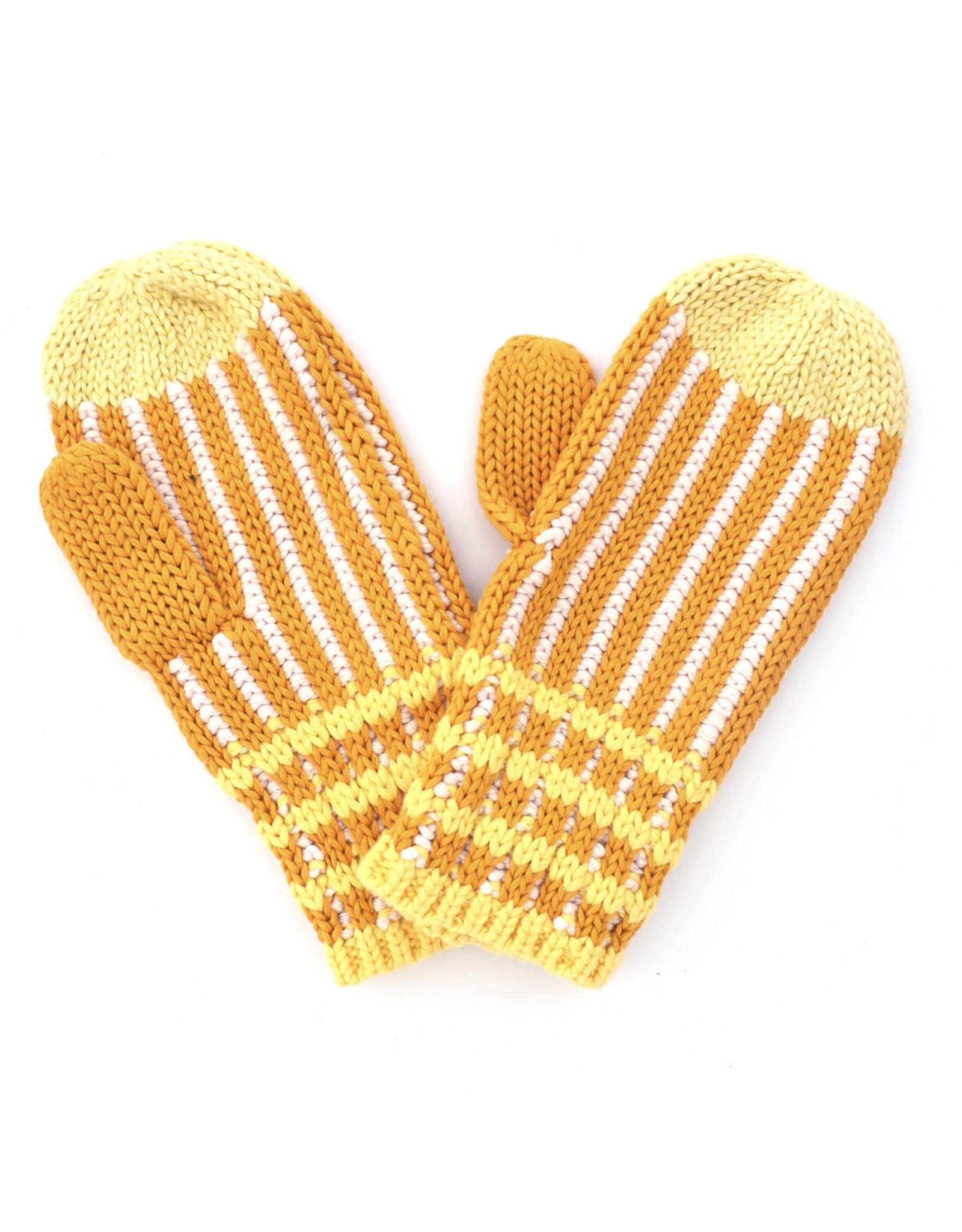 Ribbed Stripe Mitten Yellow