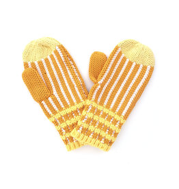 Ribbed Stripe Mitten Yellow