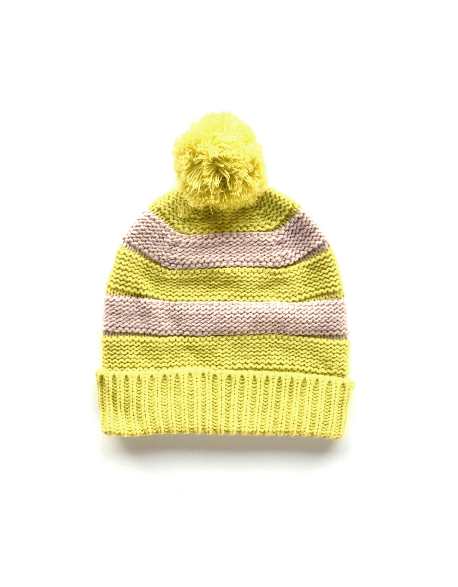 Striped Pom Hat-  Pink/Yellow
