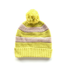 Striped Pom Hat-  Pink/Yellow