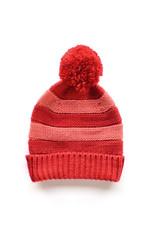 Striped Pom Hat - Red/Pink