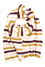 Ribbed Stripe Scarf Pink/Mustard