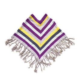 Wool Knit Striped Poncho Purple