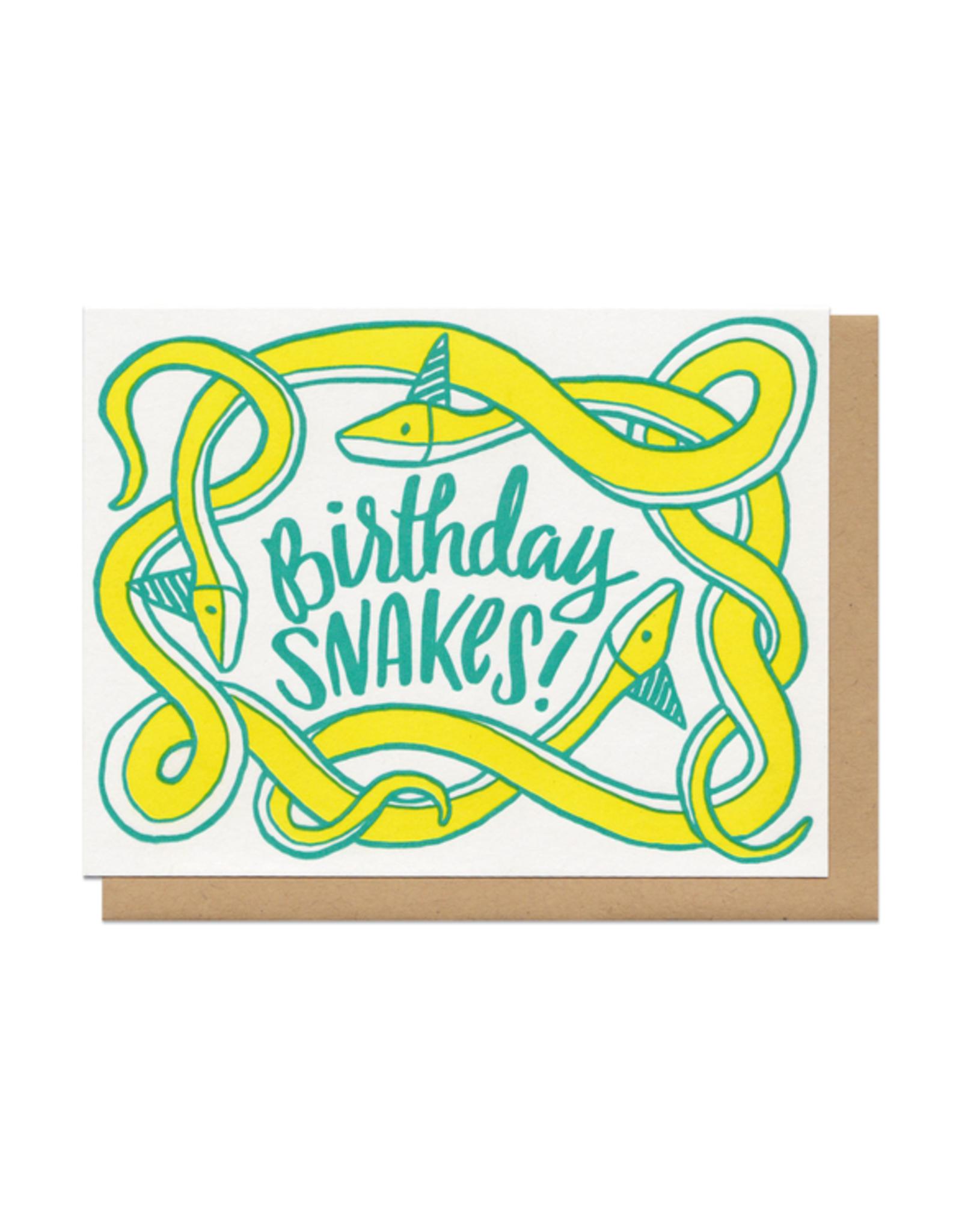 Birthday Snakes! (yellow) Greeting Card