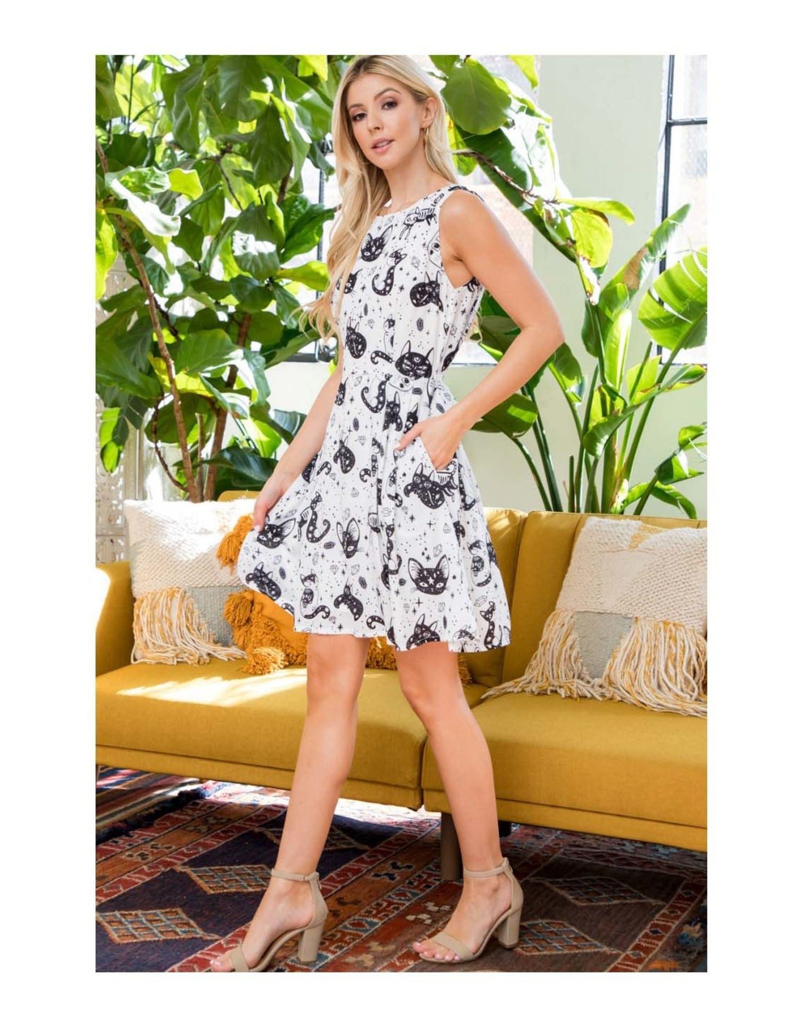 Crystal Kitty Dress with Pockets