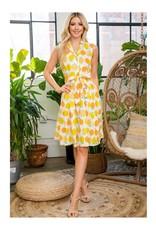 Retro Citrus Collar Dress with Pockets