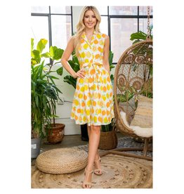 Retro Citrus Collar Dress with Pockets