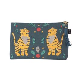 Fierce Tigers Small Linen Cosmetic Bag