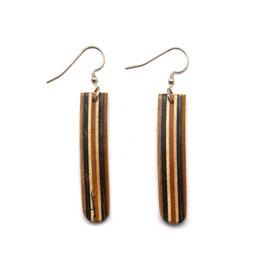 Skatedeck Earrings - Black and Tan