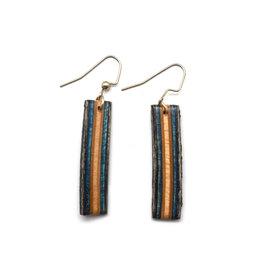 Skatedeck Earrings - Blue and Black