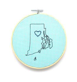 RI Heart Sampler Hoop - Blue Check
