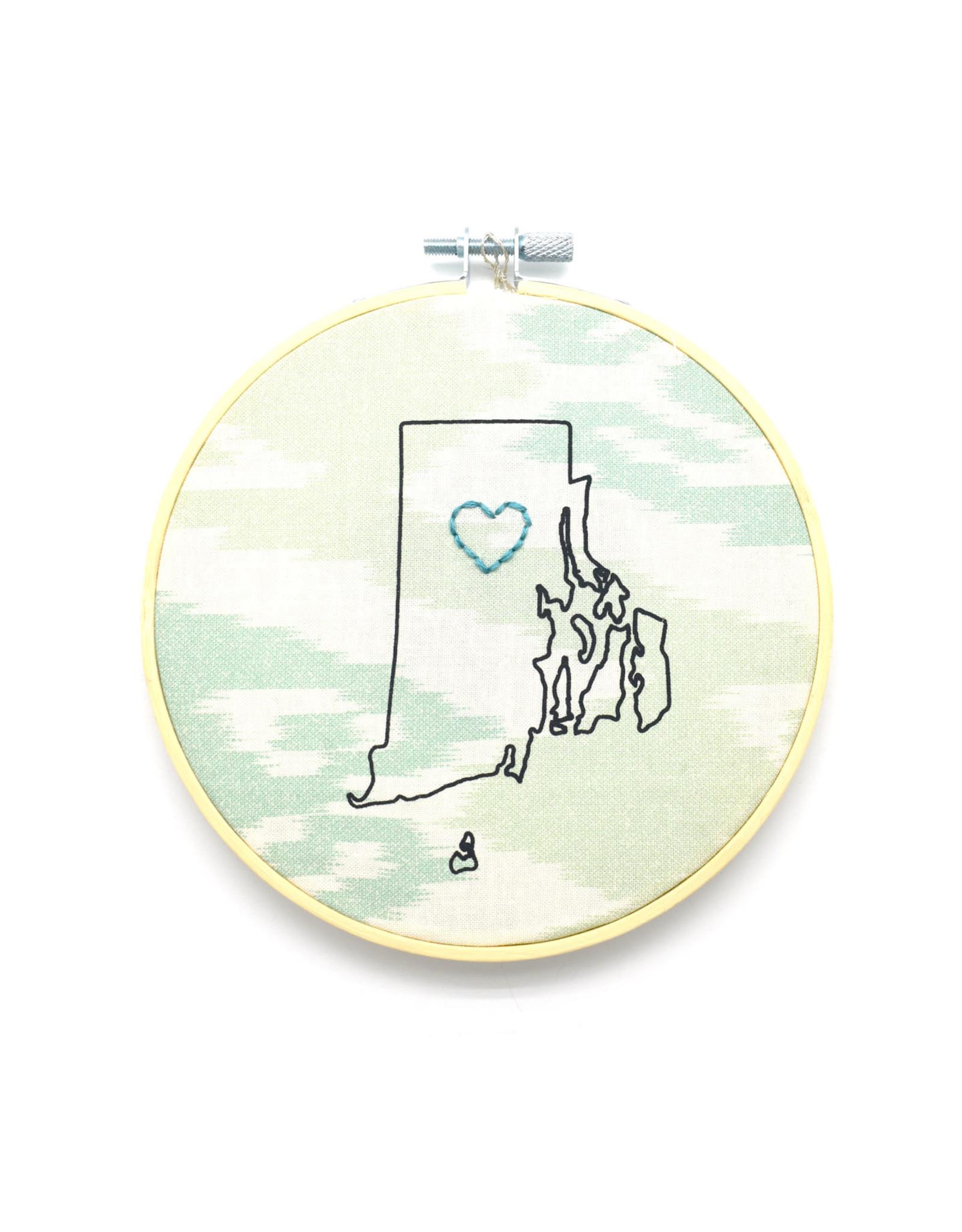 RI Heart Sampler Hoop - Green Ikat