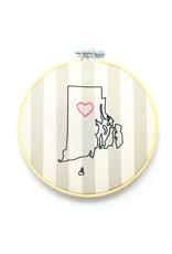 RI Heart Sampler Hoop - Pale Stripes